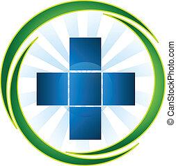 logo, monde médical, vecteur, symbole, icône