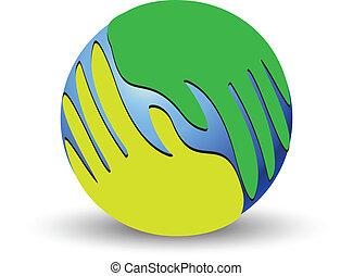 logo, mondiale, sur, vert, mains