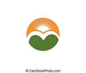 logo, montagne, icône, business