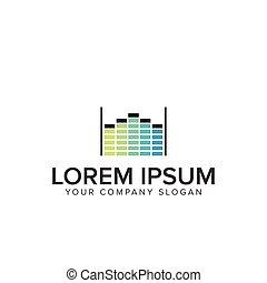 logo, musique, aqualizer