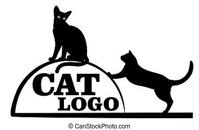 logo, noir, cat.