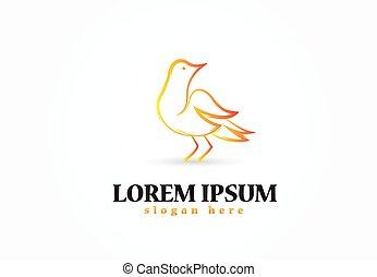 logo, oiseau, icône