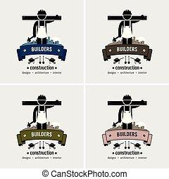 logo, ouvrier construction, design.