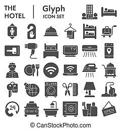 logo, paquet, croquis, blanc, pictograms, illustrations, ménage, graphics., arrière-plan., solide, icône, toile, glyph, collection, vecteur, hôtel, isolé, set., style, signes, symboles