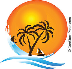 logo, paradis tropical, île