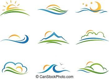 logo, paysage, icône