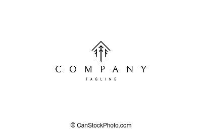 logo, pin, house., résumé, formulaire, arbres, trois, vecteur, image