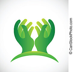 logo, plein d'espoir, vert, mains