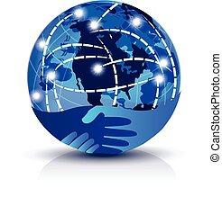 logo, poignée main, global, internet