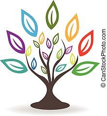 logo, pousse feuilles, arbre, coloré