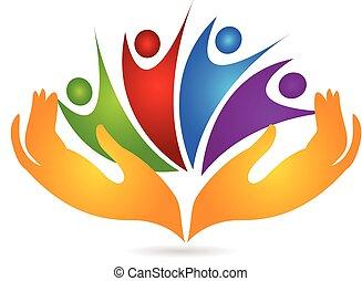 logo, prendre, gens, mains, soin
