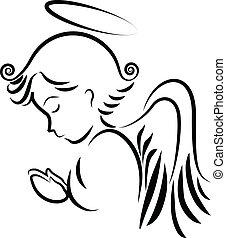 logo, prier, ange