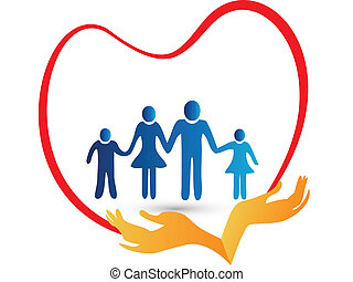 logo, protégé, amour, famille, mains
