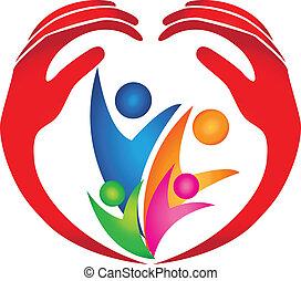 logo, protégé, famille, mains