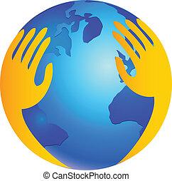 logo, protéger, sur, mondiale, mains