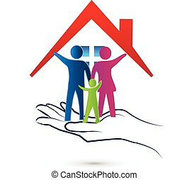 logo, protection, famille, soin
