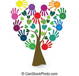 logo, résumé, vecteur, arbre, mains