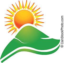 logo, rayons soleil, collines, swoosh