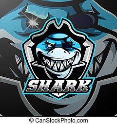 logo, requin, conception, pirates, mascotte