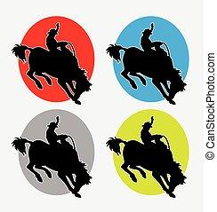 logo, rodéo, cow-boy