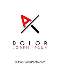 logo, rouges, entaille, noir