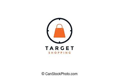 logo, sac à provisions, moderne, icône, conception, cible, vecteur