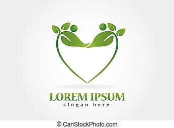 logo, santé, pousse feuilles, nature