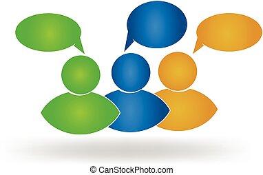 logo, social, amis, business, média