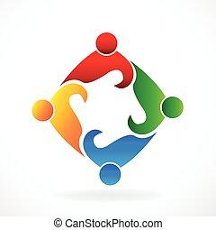 logo, social, collaboration, gens, média