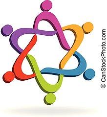 logo, social, collaboration, média
