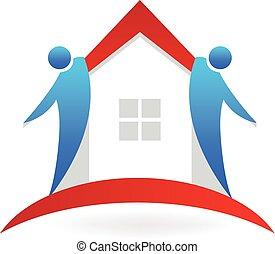 logo, soin, gens, maison