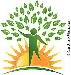 logo, soleil, arbre, gens