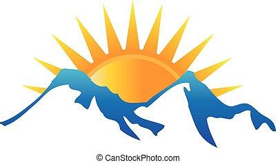logo, soleil, montagnes