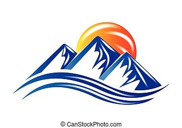 logo, soleil, montagnes, vecteur, brillant