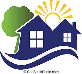 logo, soleil, vagues, maisons arbre