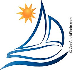logo, soleil, vecteur, bateau, vagues
