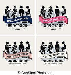 logo, soutien, centre, groupe, design.