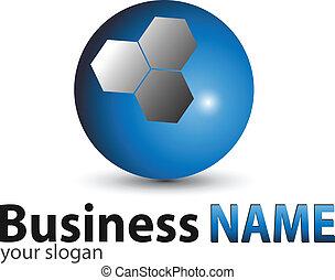 logo, sphère, bleu, lustré