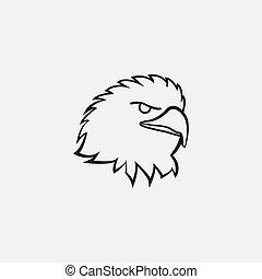 logo., style, oiseau, mascotte, aigle, féroce, violent, vicieux, fâché, ligne, figure, vecteur, illustration, art