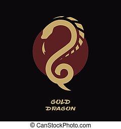 logo, sun., fond, contre, dragon