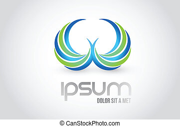 logo, symbole, ailes, illustration