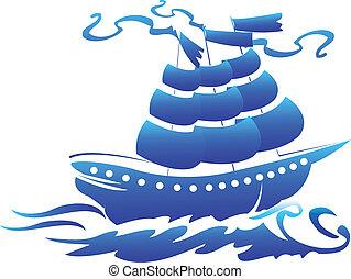 logo, symbole, bateau, pirate