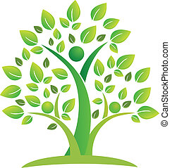 logo, symbole, collaboration, arbre, gens