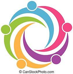 logo, symbole, collaboration, conception
