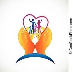 logo, symbole, santé, famille, soin