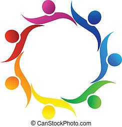 logo, symbole, vecteur, collaboration, étreinte