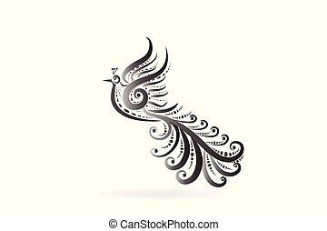 logo, tatouage, oiseau, phénix, icône
