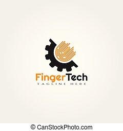 logo, technologie, vecteur, conception, doigt