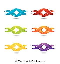 logo, tordu, ribbon-, résumé