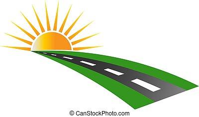 logo, trottoir, vecteur, coucher soleil, route